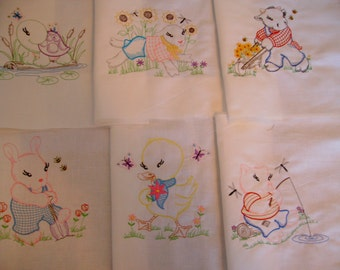 quilt blocks machine embroidered quilt blocks  Set of  6 animal blocks  baby quilt blocks