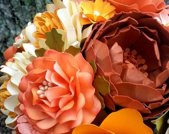 Paper Flower Bouquet - Wedding Bouquet - Bridal Bouquet - Coral - Tangerine - Custom Made - Any Color