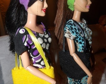 Accessory Set - 2 purses, 2 belts / headbands, 1 pair of shoes for Fashion Dolls - as1