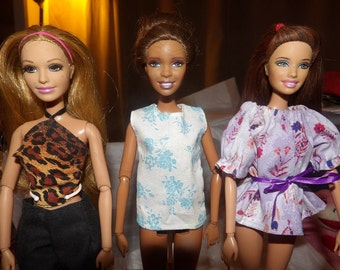 Fashion Doll Coordinates - 3 different styles of tops in Leopard, blue floral and lilac floral - es319