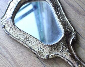 Vintage 50's Gold Florentine Hand Mirror