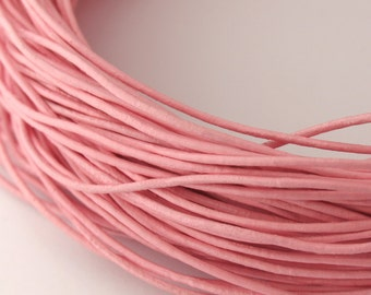LRD0105029) 0.5mm Light Pink Genuine Round Leather Cord.  1 meter, 3.4 meters, 7.6 meters.  Length Available.