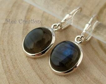 EE090001) Labradorite, Oval Dome shape, 925 Sterling Silver Earrings