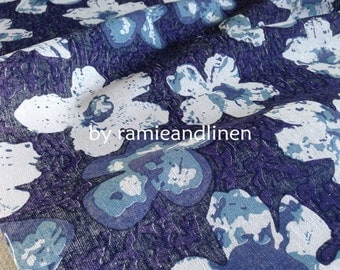 """linen cotton blend floral print fabric, quilting fabric, patchwork fabric, dress fabric, half yard by 57"""" wide"""