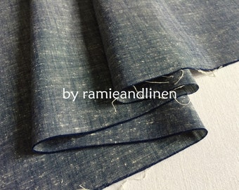 "Japanese cotton linen fabric, vintage style denim yarn dyed cotton linen fabric, half yard by 46"" wide"
