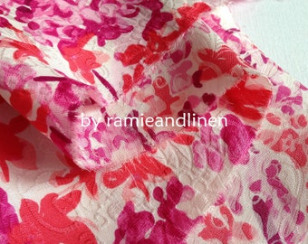 """Hard to find, silk fabric, pink floral jaquard silk Guan Le Crepe fabric, half yard by 45"""" wide"""