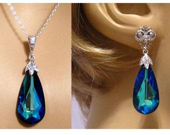 Ocean Blue Earrings/Bridesmaid Gift/Wedding Jewelry/Sapphire Earrings/Blue Bridesmaid Earrings/Something Blue Jewelry Set/Dark Blue Earrings
