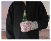 Reserved for Becca - 9 Knit Cozy Drink Mitt with Name Patch. Mitt is White, Rose Pink and Gray/Grey for Beer Bottles/Cans by VeryCoolCrafts.