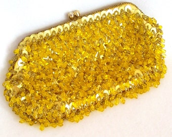Vintage 1960s Handbag Gold Go Go Mad Men Evening Bag Bead Sequins