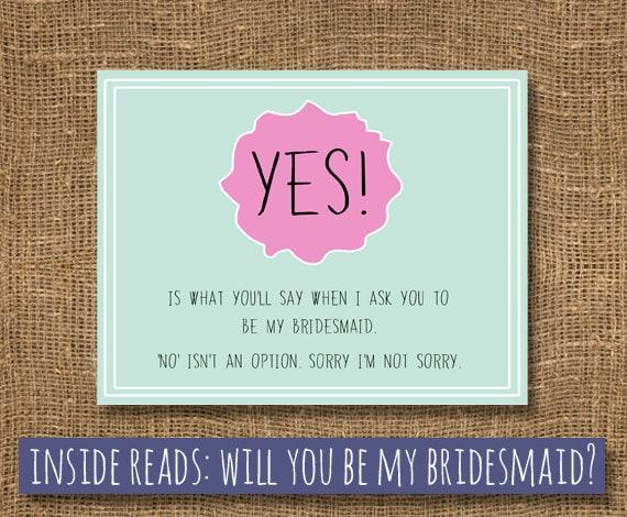 Bridesmaid / Bridal Card / Maid Of Honor / How To Ask