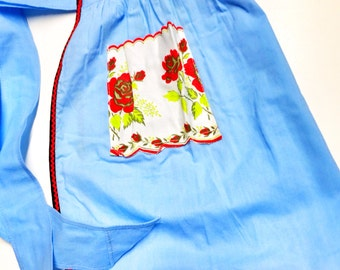 Vintage Blue Cotton Apron with Red Roses, Cottage Chic