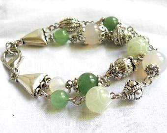 boho gemstone bracelet pale green bracelet double strand bracelet stone bracelet green aventurine bracelet