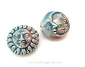 2pc Ceramic Sun and Moon Beads, High Fired Raku Clay Beads, 22mm
