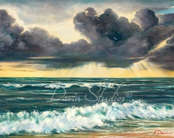 """Stormy ocean and storm clouds seascape art print of original oil painting called """"Patch of Blue"""" by Eleanor Davin"""