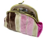 Velvet Striped Kiss Lock Coin Purse Wallet Clutch Gift Pink Brown Beige Silk Gold Metal Double Frame