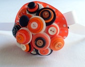 Mini Button Bouquet, Orange toss bouquet, flower girl, nosegay, posy - AngelasArtistic