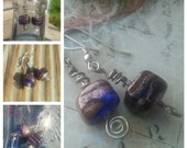 Cobalt Blue and Bronze Glass Bead Earrings, Sweet and Simple, Something Blue