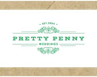 Custom Logo Design - PreDesigned Logo - PreMade Logo - Vector Logo - OOAK Logo -  PRETTY PENNY Logo Design - Vintage Logo - Antique Logo