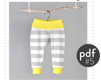 Baby toddler sewing pattern, cuff pants pdf file, sizes Preemie to 6T, easy photo tutorial -Pattern 5