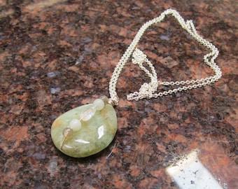 Moss Aquamarine, Labradorite, Amazonite and Rainbow Moonstone OOAK Throat Chakra Healing Pendant with Silver Chain