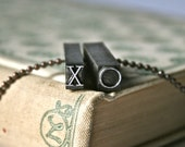 XO Drilled and Polished Letterpress Type for Wearable History Unisex Pendant