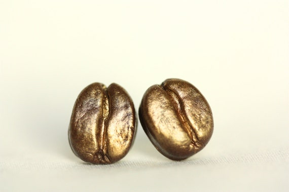 Coffee Bean Earrings /Golden
