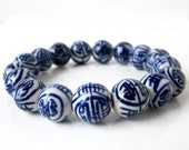 12mm White Blue Porcelain Ceramic Happy Longevity Beads Stretchy Bracelet  T2655