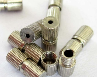 30Pieces Twist Alloy Metal Pipe Column Cylinder End Connectors Cap Beads Finding--30Pcs--7mm x 3mm  ja357