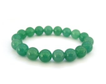 10mm Round Green Stone Prayer Beads Rosary Beaded Charm Bracelet  T3092