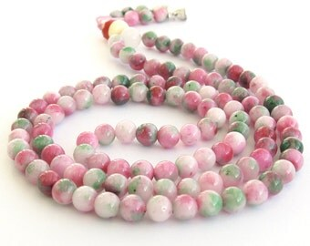 6mm Tibetan Colorful Stone Round Beaded 108 Prayer Beads Rosary Lucky Mala  ZZ203