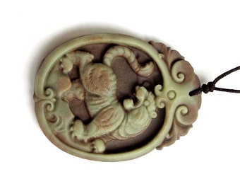 Talisman Two Layer Natural Stone Chinese Zodiac Tiger Amulet Pendant 50mm x 38mm  Zp007