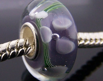 1Pc.925 Murano Glass Lampwork Charm Bead Fit European Bracelet Necklace 14mm x 7.5mm  jaz317