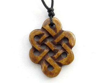 Pierced Carved Chinese Everlasting Love Knot Amulet Pendant Ox Bone Jewelry 30mm x 23mm  T1553