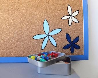 Cork Board- hand painted decorative memo board,Bulletin board- Blue flowers