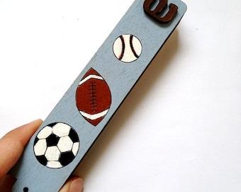Mezuzah case for children's room- Boys Mezuzah- Sport blue Mezuzah, baseball, football, and soccer