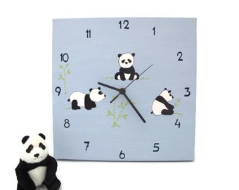 kids clock- panda bears - blue baby boys clock for nursery, kids room canvas, square unique clock for children, girls clock