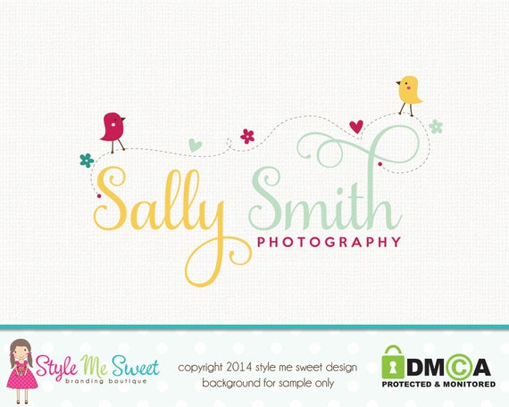 Bird Logo Design Premade Logo Design Photography Logo Design Party Logo Design Sewing Logo Design Graphic Design Photographers Logo