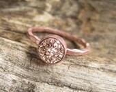 Tiny Rose Gold Druzy Ring Titanium Drusy Quartz 18K Rose Gold Vermeil Hammered Band