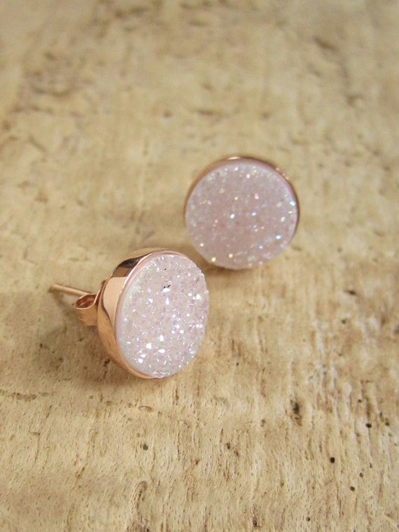 Natural Druzy Rose Gold Studs Titanium Drusy Quartz Earrings Rose Gold Vermeil Bezel Set