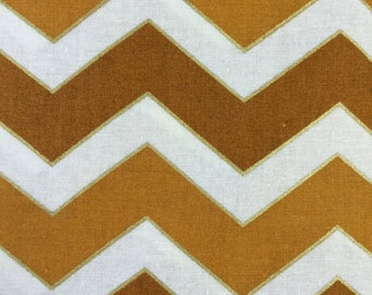 Harvest Metallic Chevron - quilting cotton - medium chevron - 1 yard - last piece