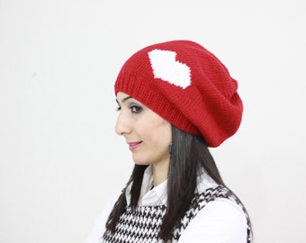 Red Slouch hat, Heart Knit hat, Heart knit beanie, Heart Slouch Beanie, Knit red hat, Heart Slouch Beanie, Heart Beanie, Gift for her
