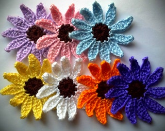 "24 HOUR SALE 2 Large Daisy 3.5"" Handmade Crochet Flower Appliques Sewing Bow U Pick your color"