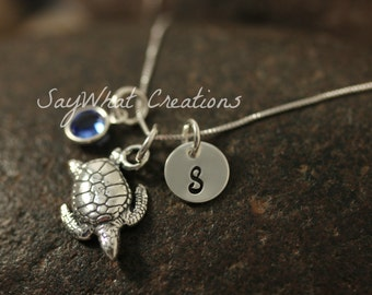 Sterling Silver Mini Initial Hand Stamped Sea Turtle Necklace