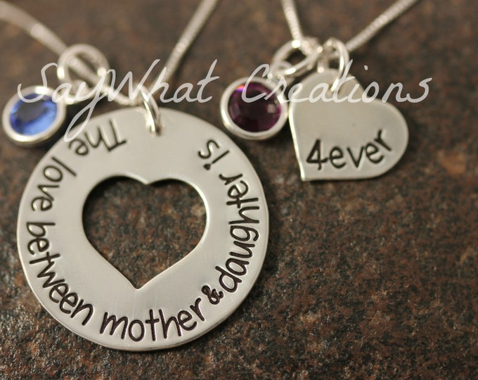 Mother and Daughter Necklace Set The love between mother & daughter is forever Sterling Silver Hand Stamped