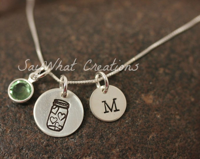 Custom Hand Stamped Sterling Silver Mason Jar of Hearts Mini Initial Necklace