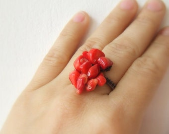 Red coral ring, natural copper ring,  wire wrapped ring, antiqued rustic handmade jewelry