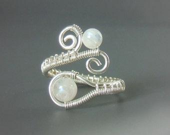 Rainbow moonstone ring, sterling silver ring, fertility stone jewelry, feminine gemstone engagement ring