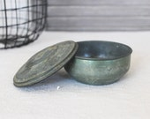 Vintage Round Tin Box with Lid, Rustic Decor