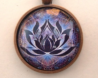 Yoga Necklace:  Lotus on Mandala Necklace (005)