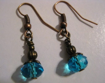 Aqua Turquoise Blue Crystal Dangle Earrings